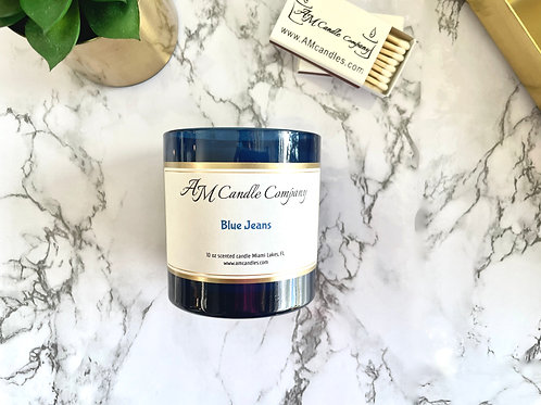 NEW Luxe Collection Blue Jeans Candle, Coconut Soy Wax, Unisex Candle