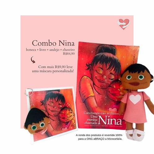 Combo Nina boneca + livro + azulejo + chaveiro