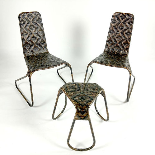 Flo 3pc Chairs/sidetable/stool