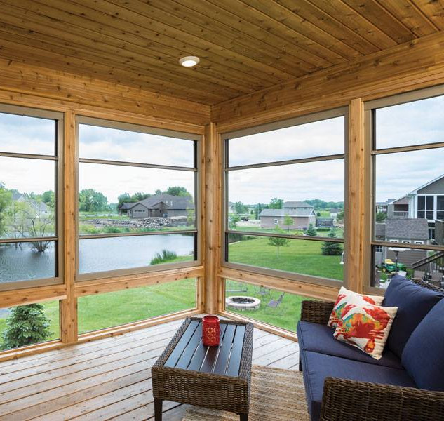 Expanse  Porch Windows Overlooking Pond