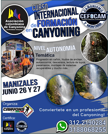 CURSO DE CANYONIG - BASICO JUNIO 26 Y 27