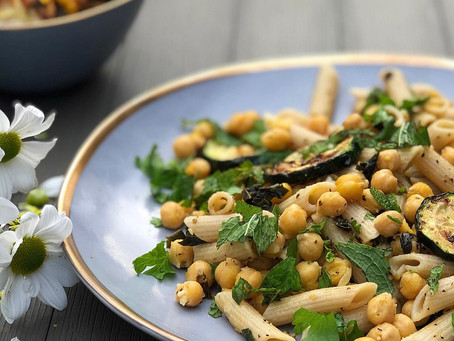 Lemony Pasta Salad with Grilled Zucchini, Chickpeas & Fresh Herbs