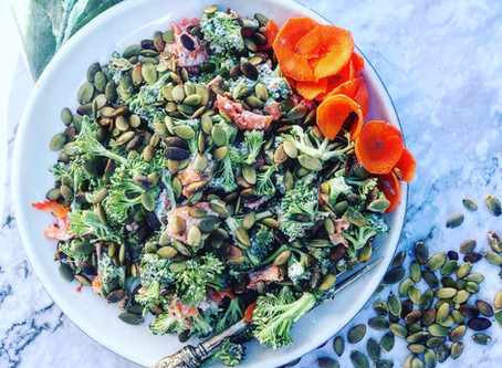 Broccoli & Carrot Coleslaw with Toasted Pumpkin Seeds