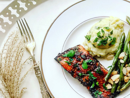 Garlic Soy Glazed Salmon with Toasted Almond Green Beans