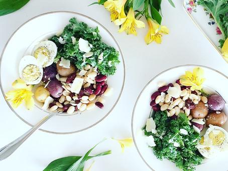 Lemon Parmesan Kale & Bean Salad