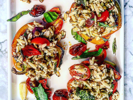 Orzo & Lentil Stuffed Roasted Peppers