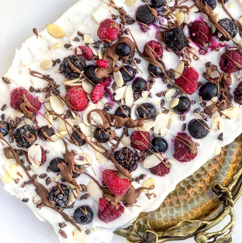 Berry Chocolate Frozen Greek Yogurt Barks