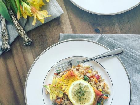 Lemon Saffron Salmon with Vegetable Farro