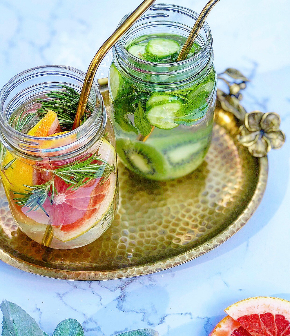 Grapefruit, Rosemary & Cucumber, Kiwi, Mint Infused water