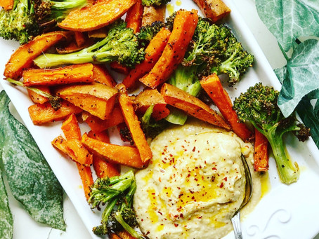 Chili & Garlic Roasted Broccoli and Sweet Potatoes with a Side of Hummus