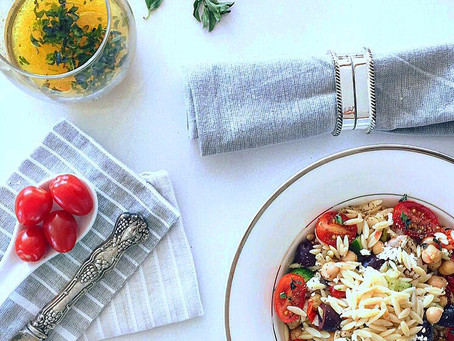 Mediterranean Chickpea Salad with Orzo