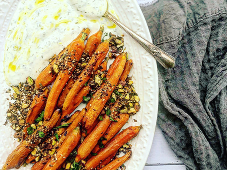 Roasted Carrots with Toasted Pistachio Herb & Yogurt Dill Sauce