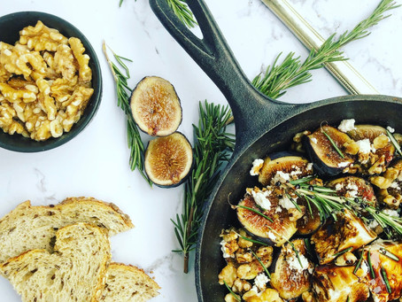 Baked Figs & Feta with Balsamic Reduction, Rosemary and Roasted Walnuts