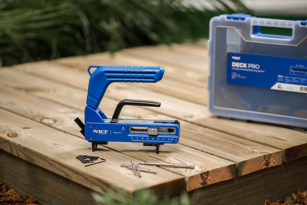 NKT Fasteners new tool for hidden decking installation, easy way to build a deck with a nice finish