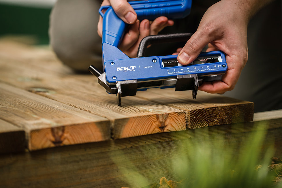 The tool for hidden decking installation. It is easy to build a deck with this tool