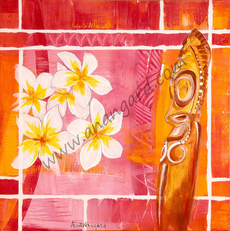 totem d ambrym et fleurs de frangipane