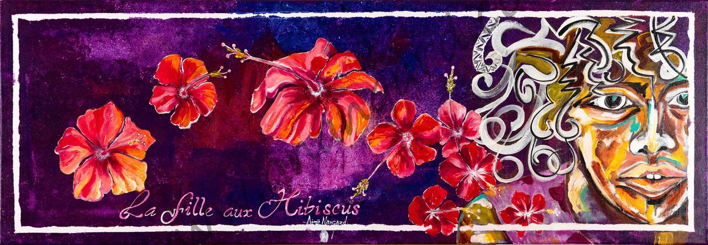 La fille aux Hibiscus (40x120)