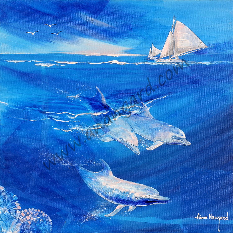 ballet de dauphins (45x45)