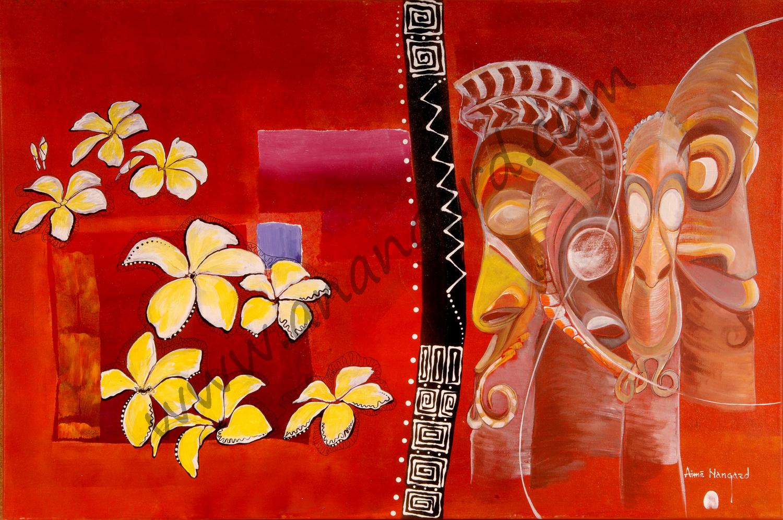 Fleurs de frangipanier et totems