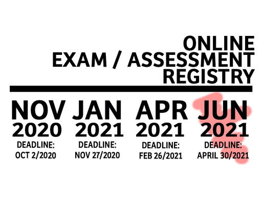 Online Exam/Assessment Sign-up Available for June 2021.