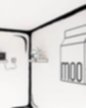 Moo milk booth white black