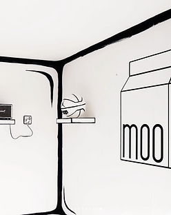 Moo milk booth white black