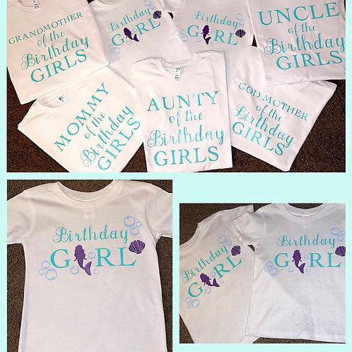 Birthday party shirts