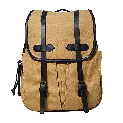 Canvas Leather Backpack In Khaki