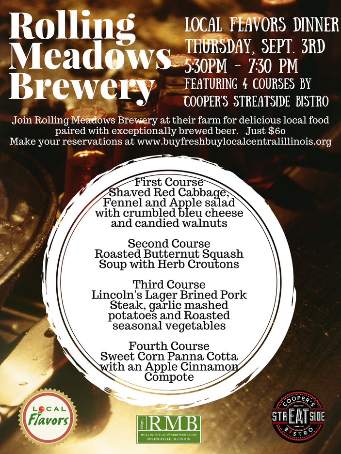 Rolling Meadows Brewery Local Flavors Dinner - Sept. 3rd
