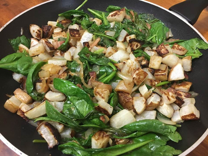 Roasted Turnip with Wilted Spinach