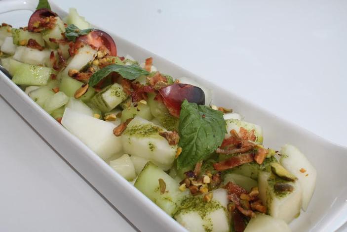 Melon, Mint, and Crispy Bacon Salad