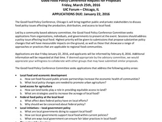 Good Food Policy Conference Request For Proposals