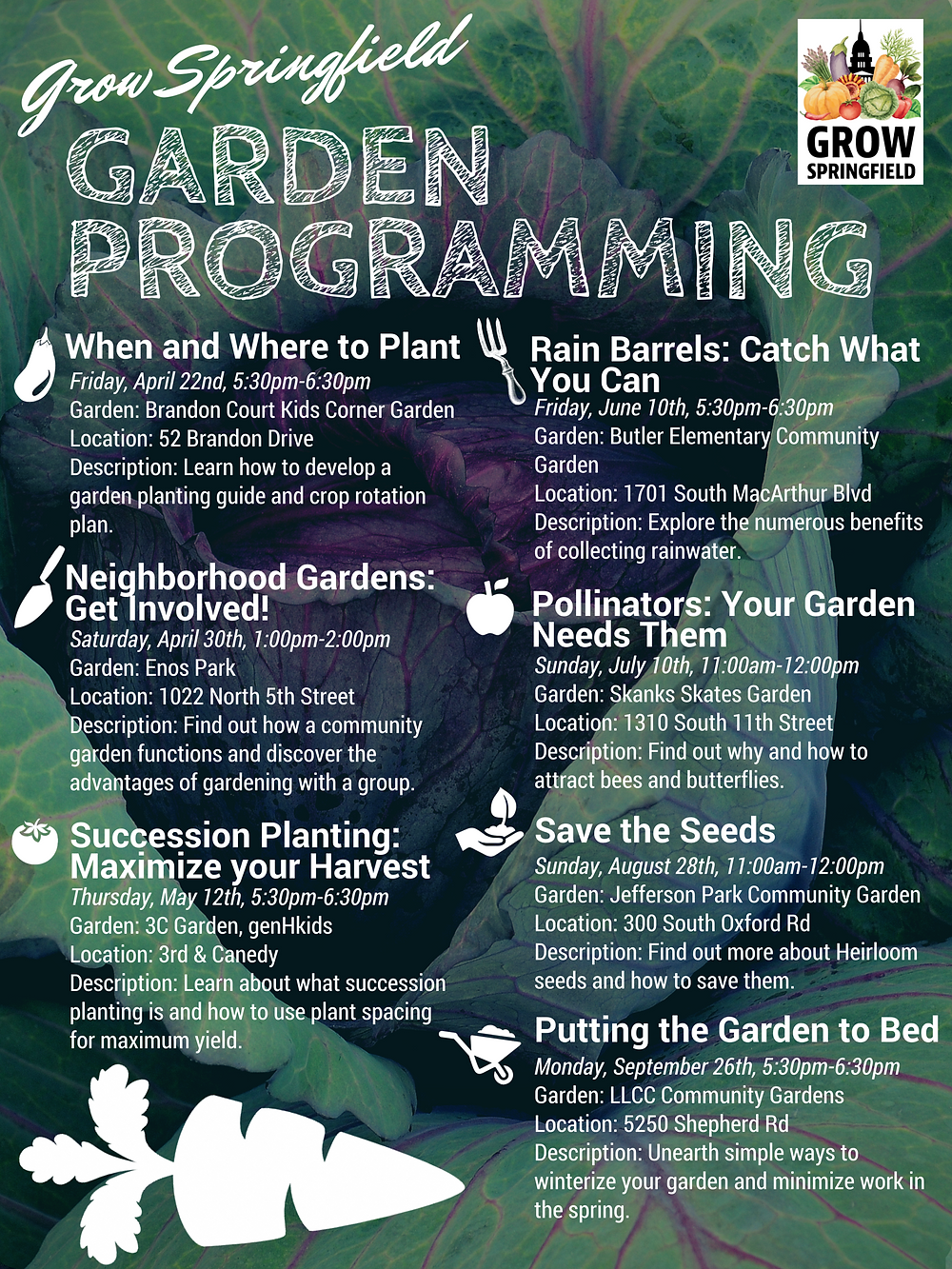 Whether you are looking to learn a thing or two about gardening or you just want participate in a community event, these sessions are sure to engage you in some way!  Each garden program is free and open to the public.