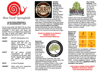 Cruise for Craft Brews with Slow Food Springfield. November 7th, 2015