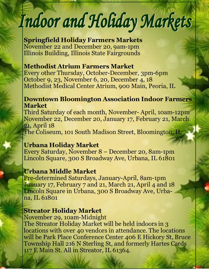 Indoor and Holiday Farmers Markets