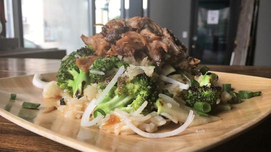 Asian Pork, Kohlrabi, and Broccoli Bowl