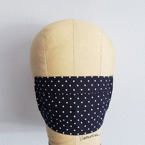 Navy Blue Polka Dot Facemask