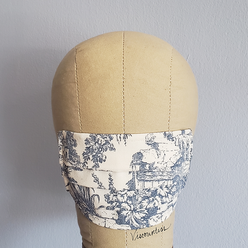 Toile Blue Facemask (Fitted or Pleated)