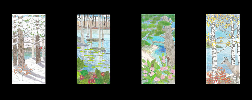 color sketches of the four seasons: winter, spring, summer and fall by Anne Ryan Miller