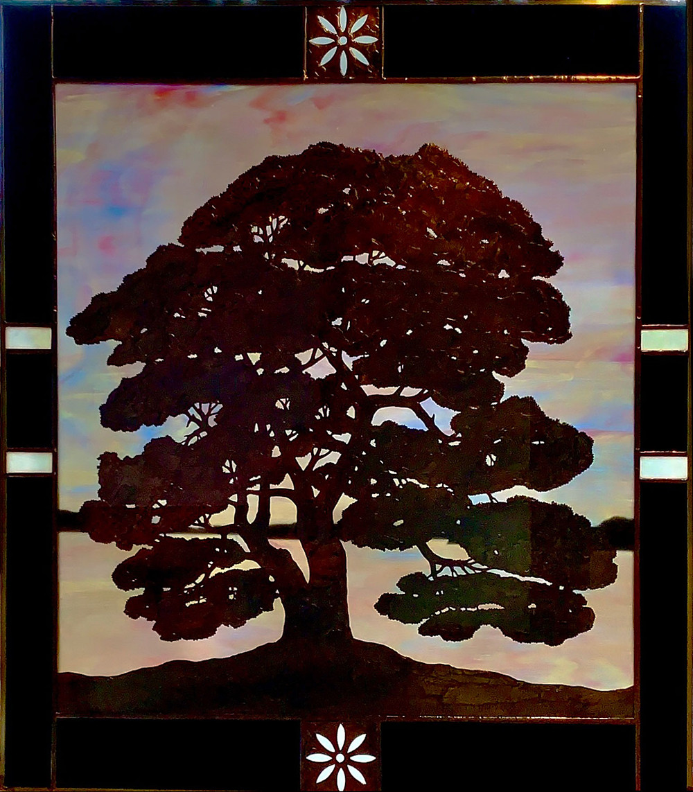 stained glass of large oak tree against the sky, by Anne Ryan Miller