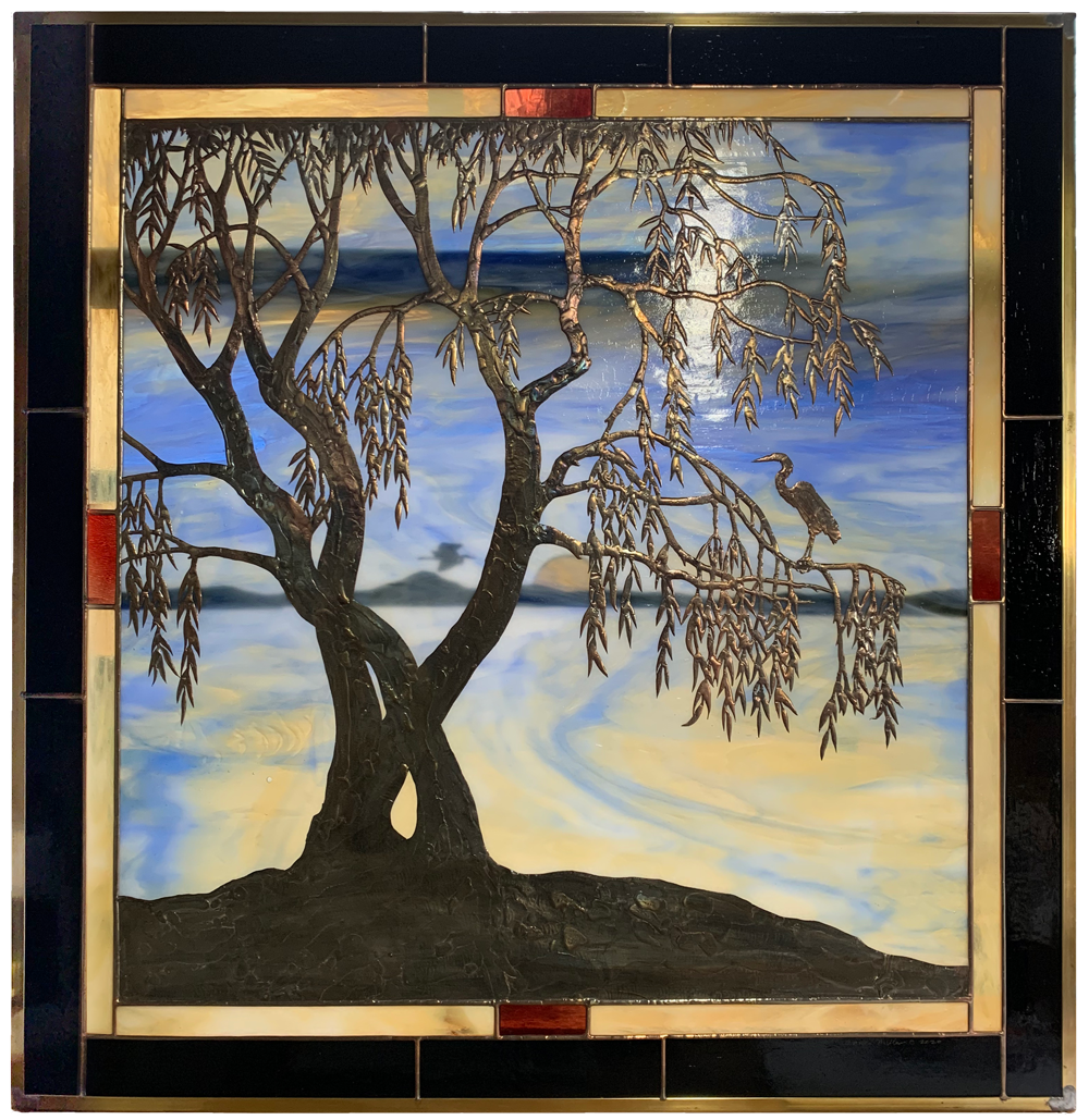 stained glass window by Anne Ryan Miller depicting willow trees and egrets