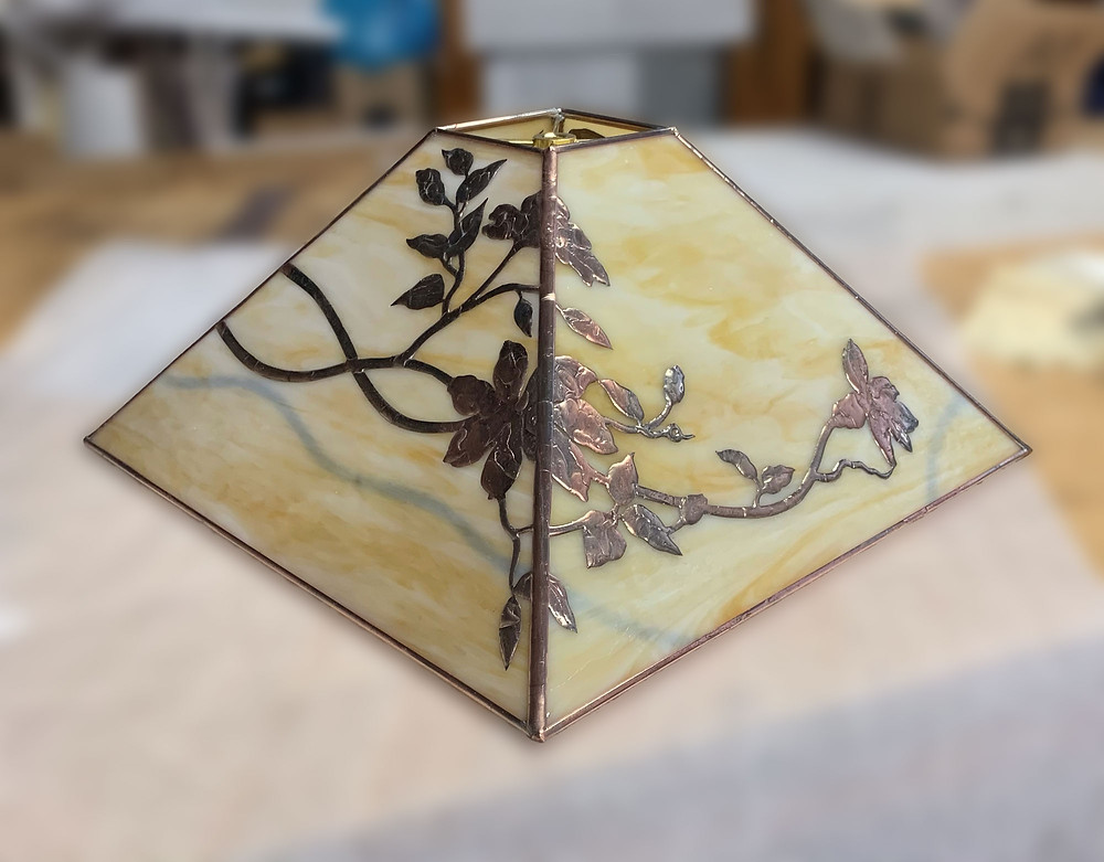 stained glass lamp shade by Anne Ryan Miller