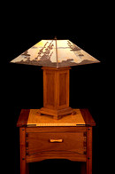 Custom Landscape Lamp with Handmade Wooden Base