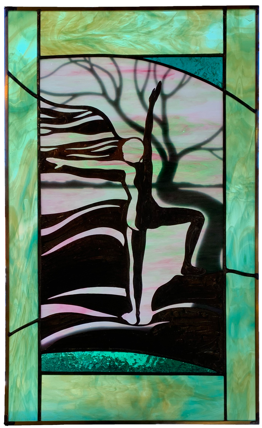 stained glass of figure in yoga pose by a tree | © Anne Ryan Miller
