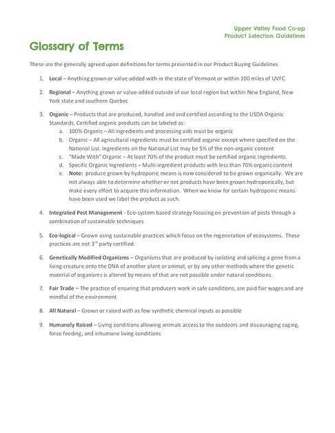 UVFC Product Selection Guidelines - Glos