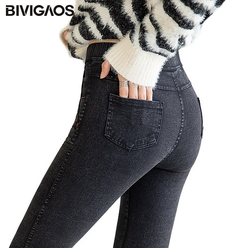 Women Jeggings Sand Washed Stretch Jeans Leggings Magic Black, Gray