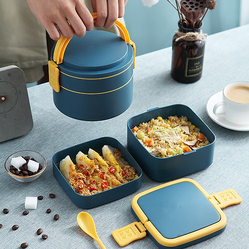 New Portable Double-Layer Container Microwave Food Storage