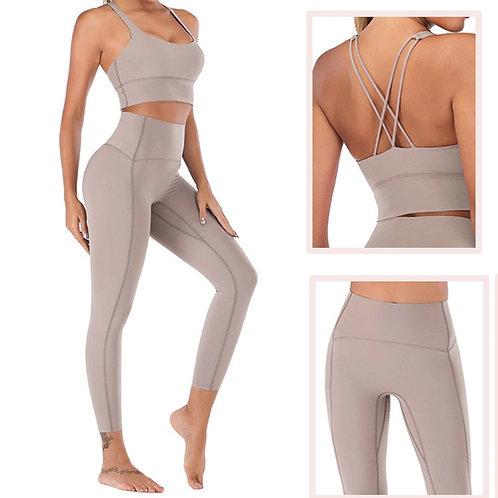 Naked-Feel Yoga 2 Piece Set Leggings Fitness Suit for Yoga/Fitness High Waist