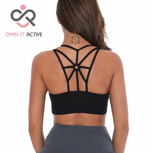 Stylish, Cool, & Comfy. Women's Strappy Back Sports Bra - Yoga, Fitness, Gym