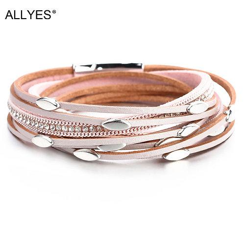 Leaf Charm Pink Leather Crystal Chain Boho Multilayer Wrap Bracelet